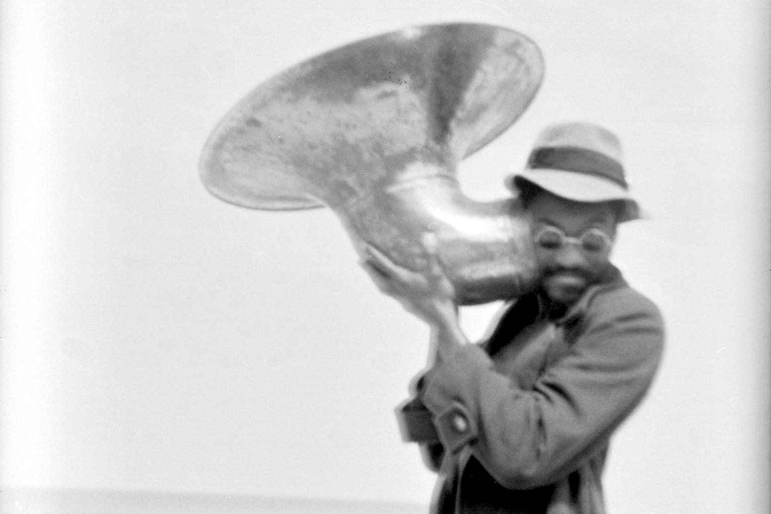 Man listening to horn