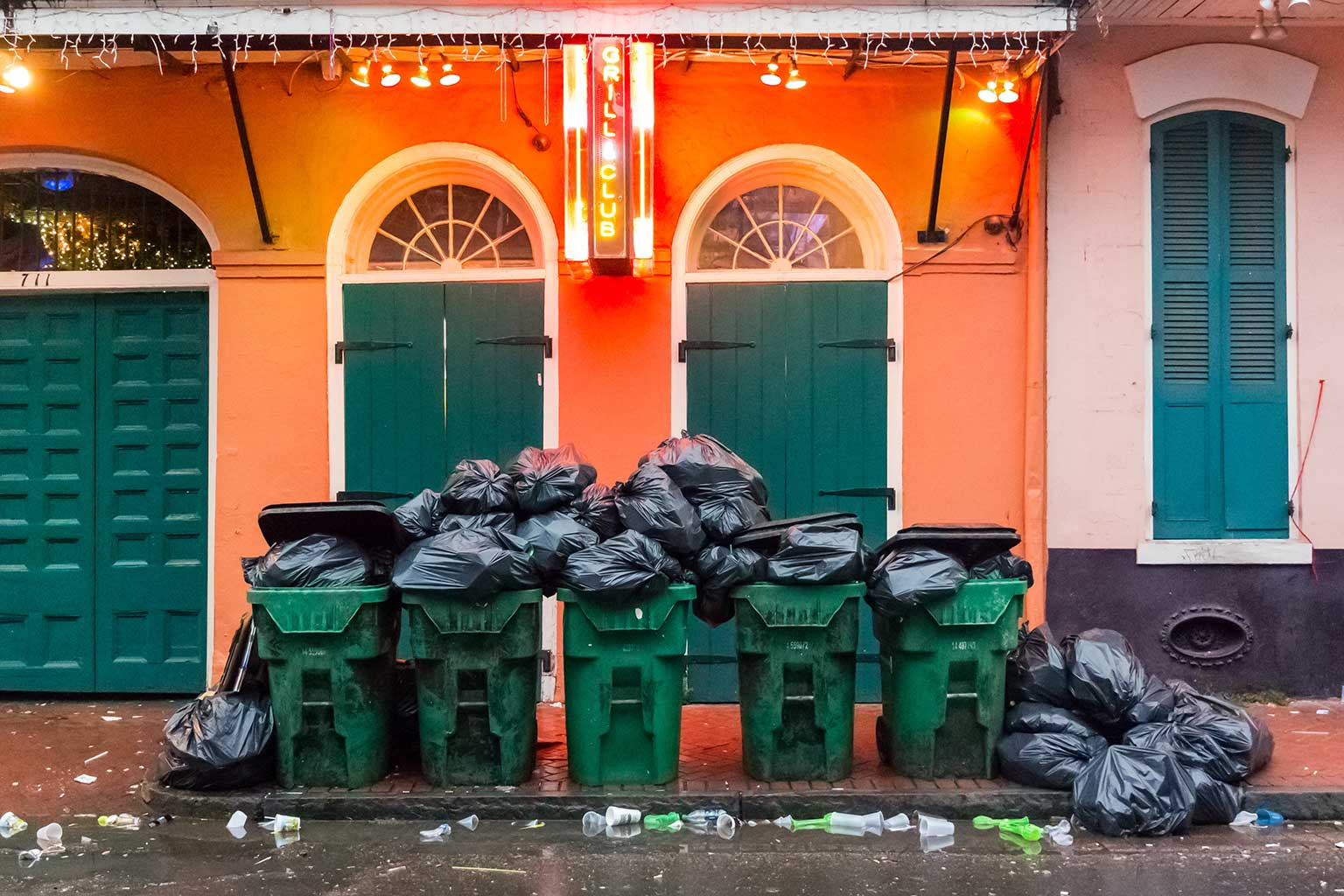 Trash cans in French Quarter