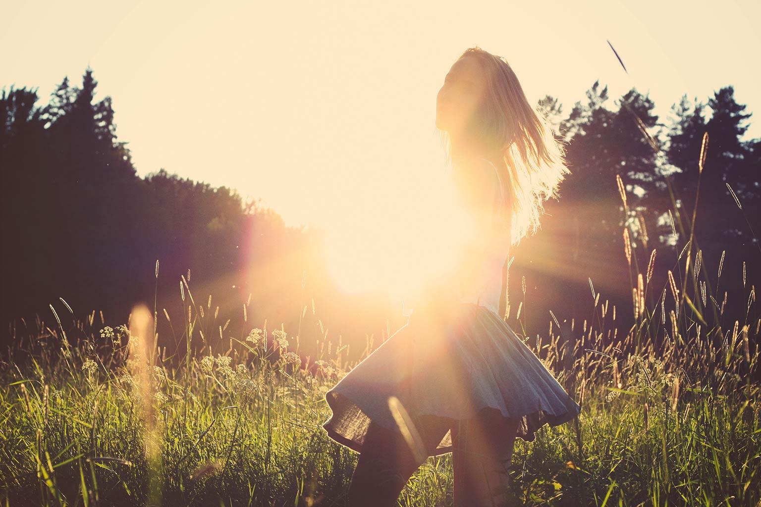 long-haired girl in sunlight