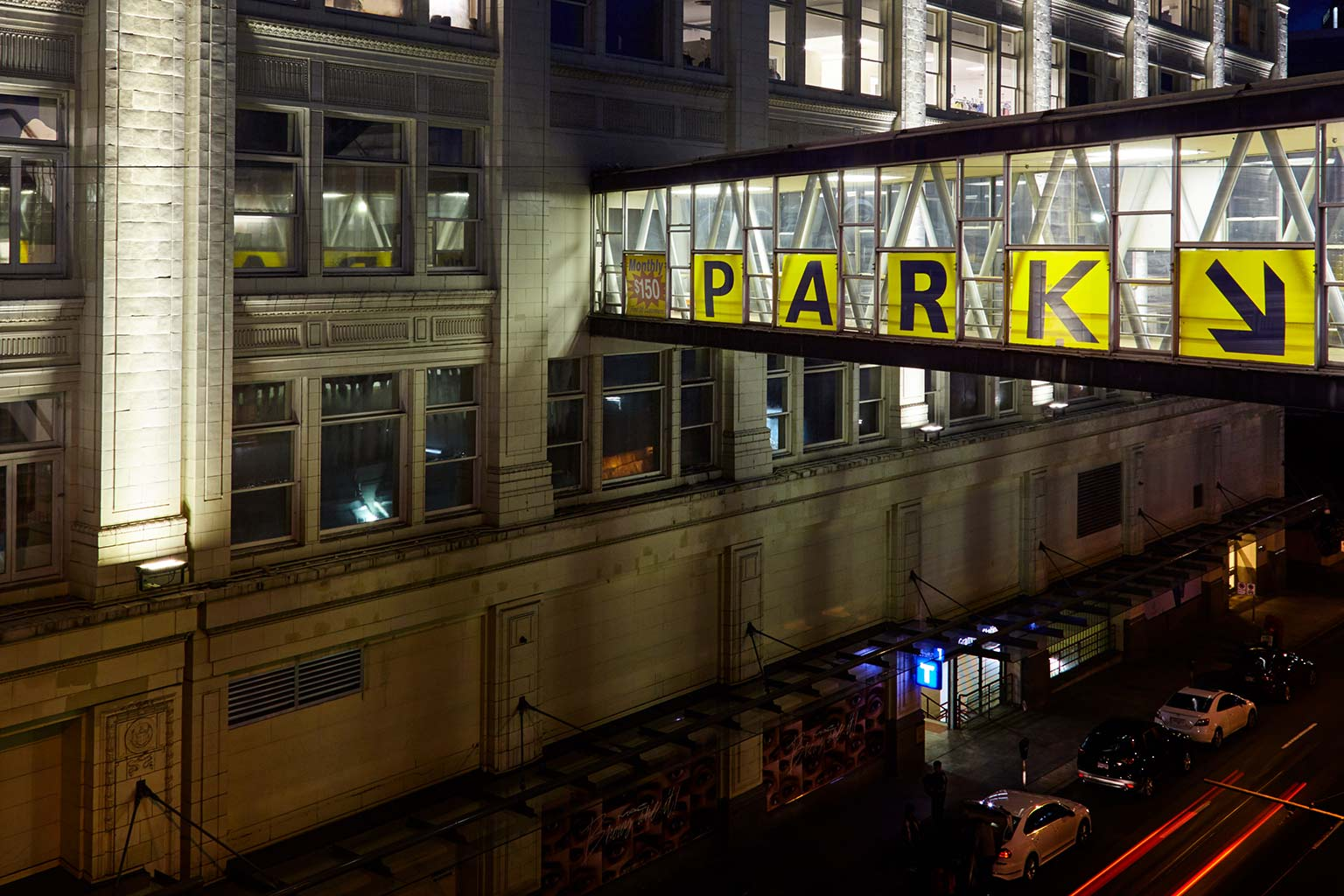 "skyway with ""PARK"" written in bold"
