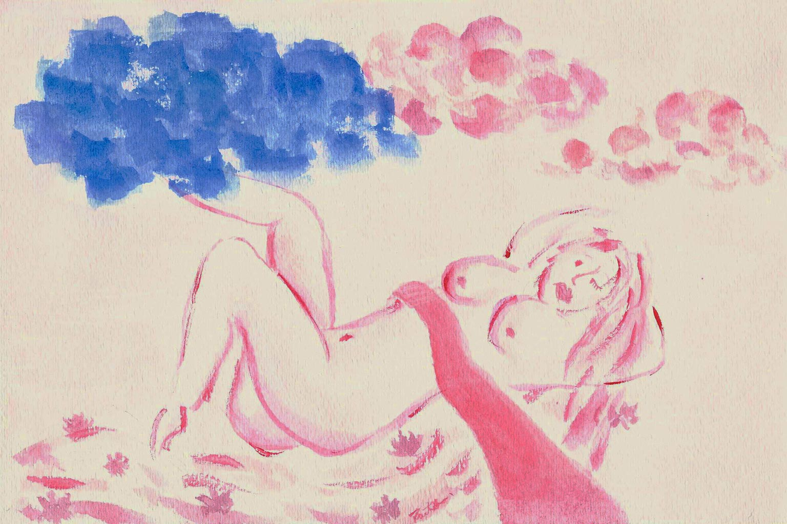 watercolor painting of woman reclining with blue and pink clouds