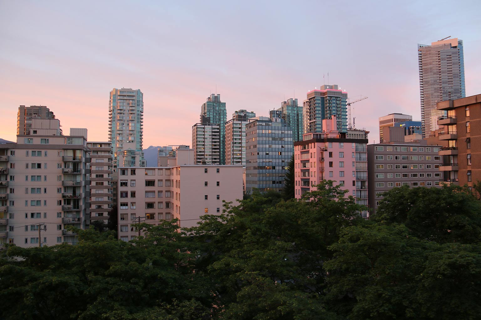 sunset over Vancouver buildings