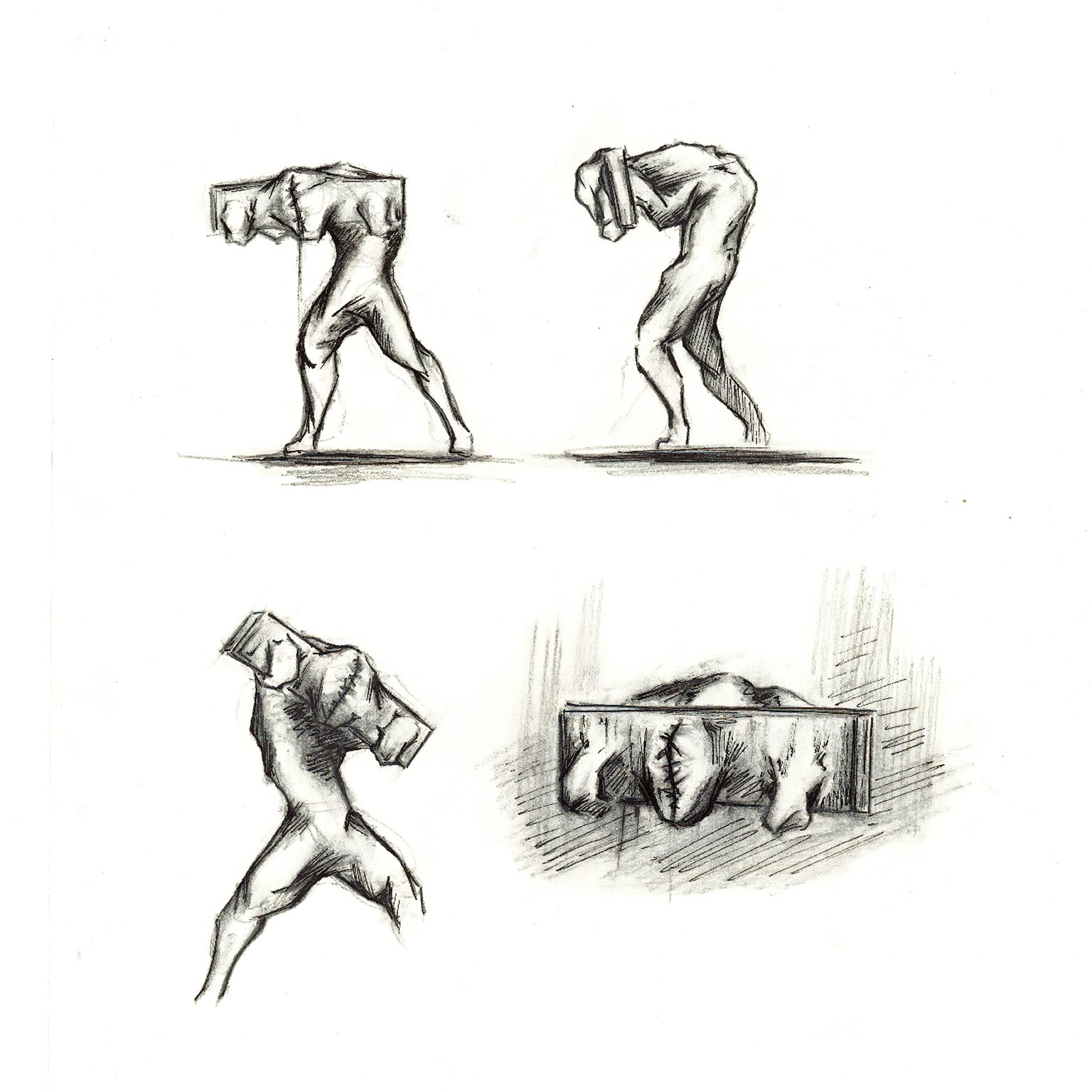 sketch of man with neck and arms bound to plank